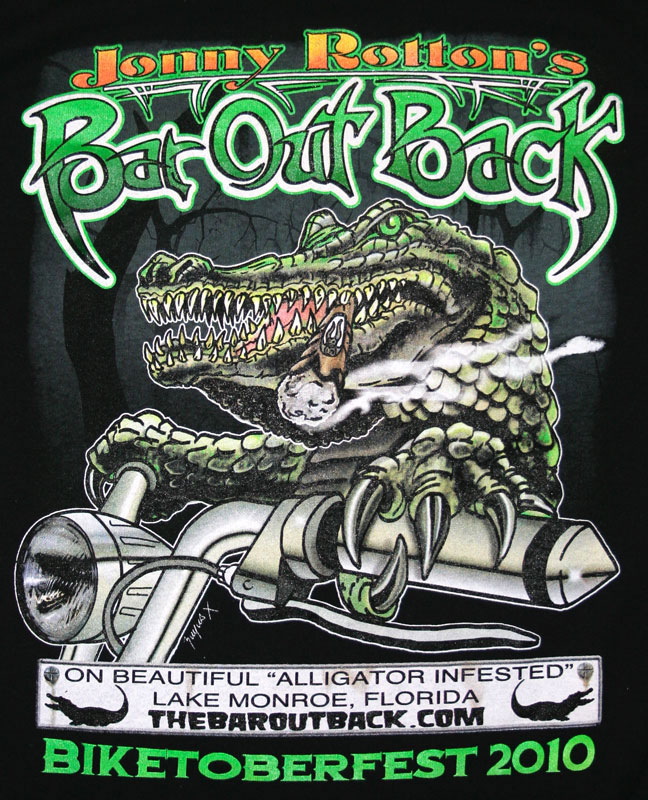 Bar out Back gator  bikershirt
