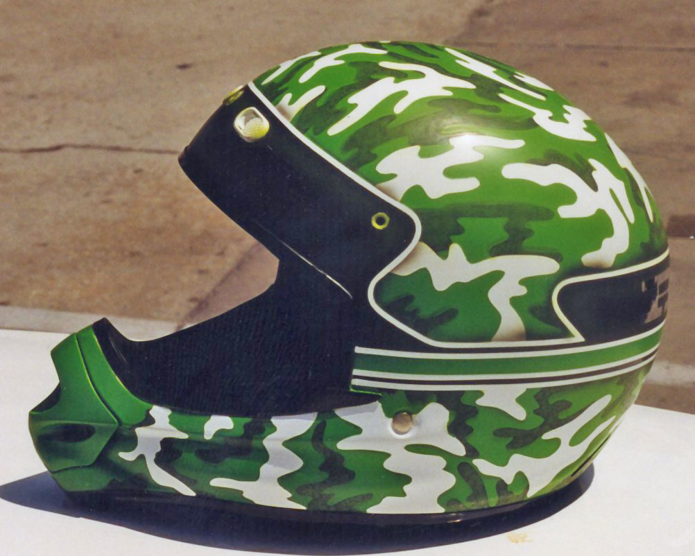 Camo motocross custom painted helmet