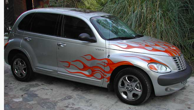 pt cruiser with candy flames