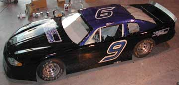 late model stock car with painted graphics