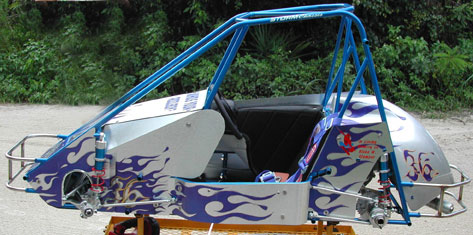 flame graphic on race cart