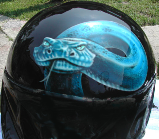 Viper on helmet
