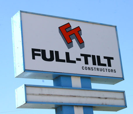 full tilt construction sign orange city