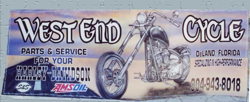 west end cycle deland airbrushed sign